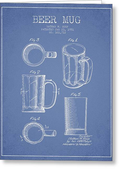Glass Wall Greeting Cards - Beer Mug Patent Drawing from 1951 - Light Blue Greeting Card by Aged Pixel