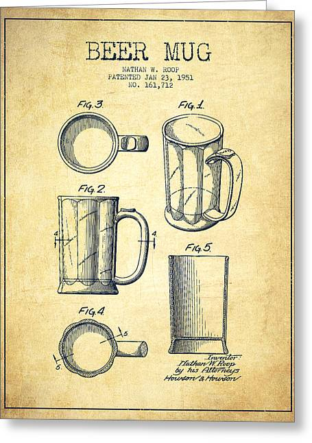 Glass Wall Greeting Cards - Beer Mug Patent Drawing from 1951 - Vintage Greeting Card by Aged Pixel
