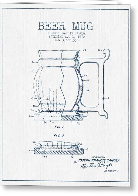 Glass Wall Greeting Cards - Beer Mug Patent Drawing from 1972 -  Blue Ink Greeting Card by Aged Pixel