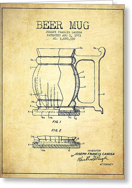 Barrel Greeting Cards - Beer Mug Patent Drawing from 1972 - Vintage Greeting Card by Aged Pixel