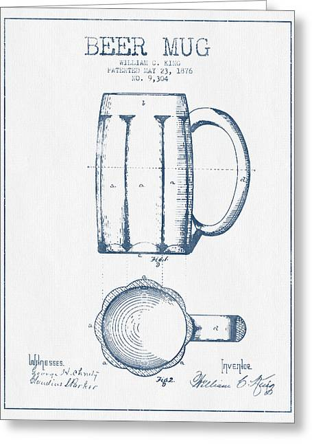 Barrel Greeting Cards - Beer Mug Patent from 1876 -  Blue Ink Greeting Card by Aged Pixel