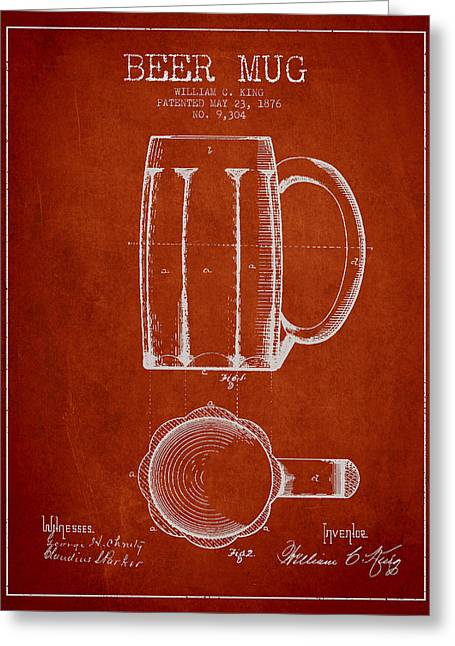 Technical Digital Art Greeting Cards - Beer Mug Patent from 1876 - Red Greeting Card by Aged Pixel