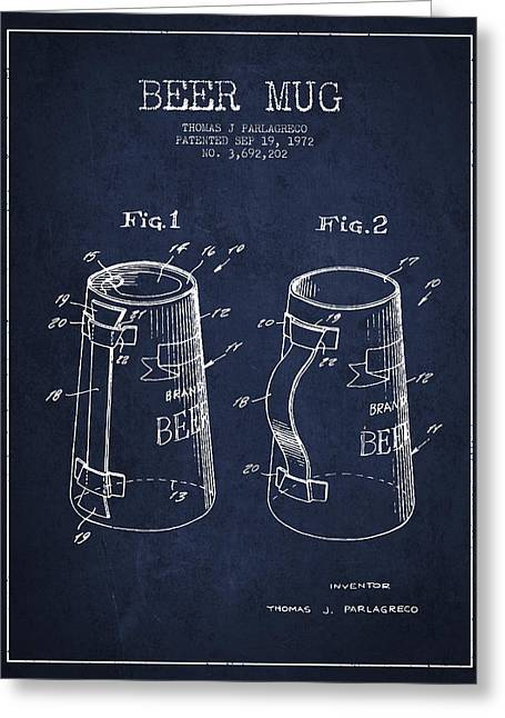 Barrel Greeting Cards - Beer Mug Patent from 1972 - Navy Blue Greeting Card by Aged Pixel
