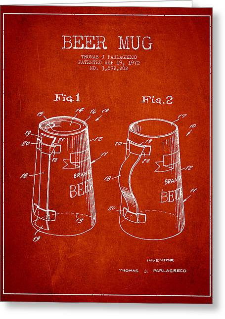 Glass Wall Greeting Cards - Beer Mug Patent from 1972 - Red Greeting Card by Aged Pixel
