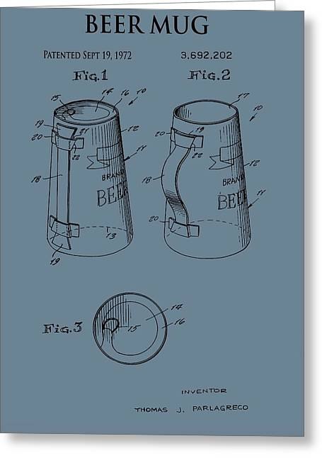 Beer Mug Patent On Blue Greeting Card by Dan Sproul