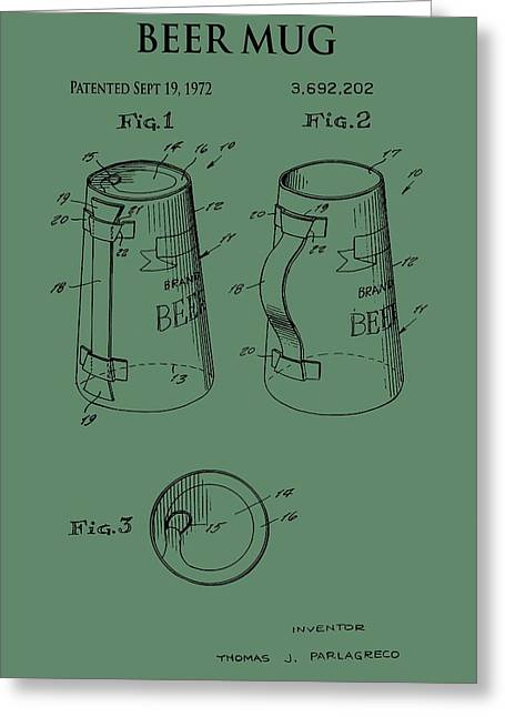 Owner Greeting Cards - Beer Mug Patent On Green Greeting Card by Dan Sproul