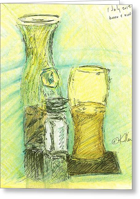Red Wine Prints Mixed Media Greeting Cards - Beer n Nuts Greeting Card by William Killen