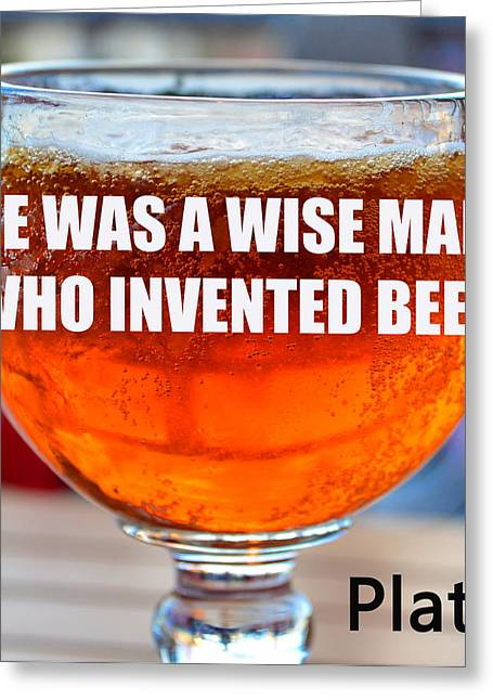 Plato Greeting Cards - Beer quote by Plato Greeting Card by David Lee Thompson