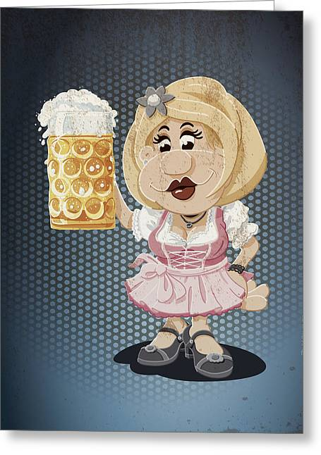 Deutschland Greeting Cards - Beer Stein Dirndl Oktoberfest Cartoon Woman Grunge Color Greeting Card by Frank Ramspott