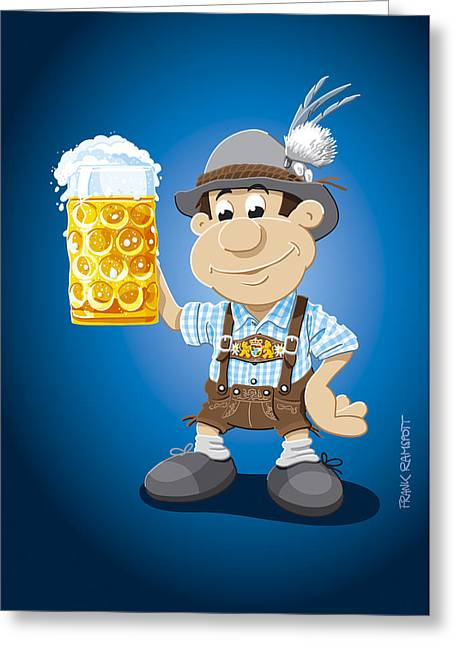 Beer Stein Lederhosen Oktoberfest Cartoon Man Greeting Card by Frank Ramspott