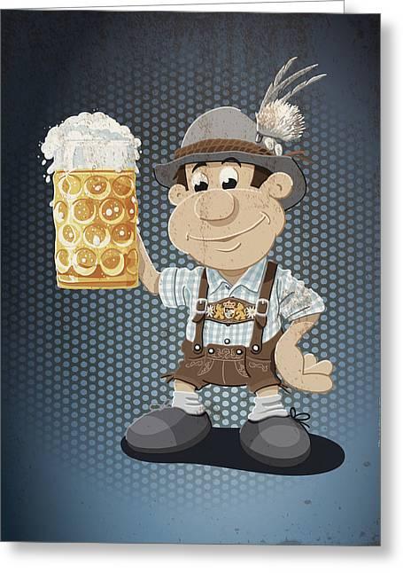 Celebration Greeting Cards - Beer Stein Lederhosen Oktoberfest Cartoon Man Grunge Color Greeting Card by Frank Ramspott