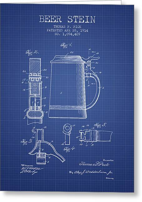 Glass Wall Greeting Cards - Beer Stein Patent 1914 - Blueprint Greeting Card by Aged Pixel