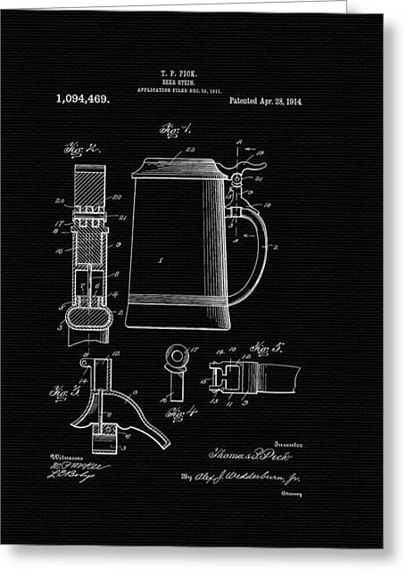 Stein Greeting Cards - Beer Stein Patent - 1914 Greeting Card by Mountain Dreams