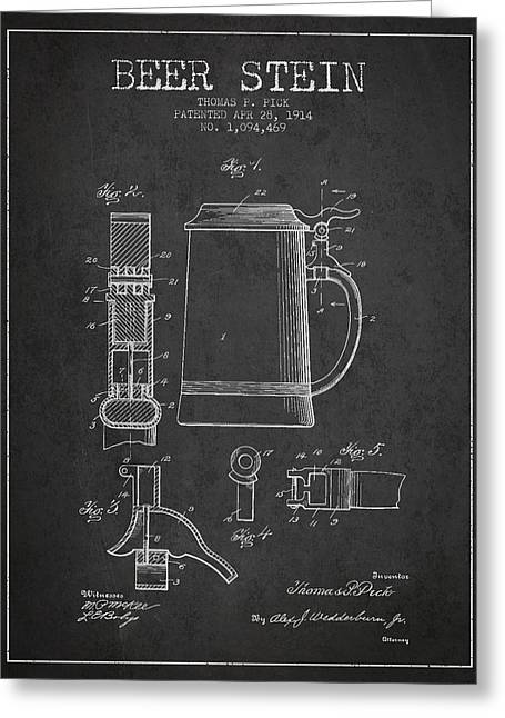 Beer Stein Patent From 1914 - Dark Greeting Card by Aged Pixel