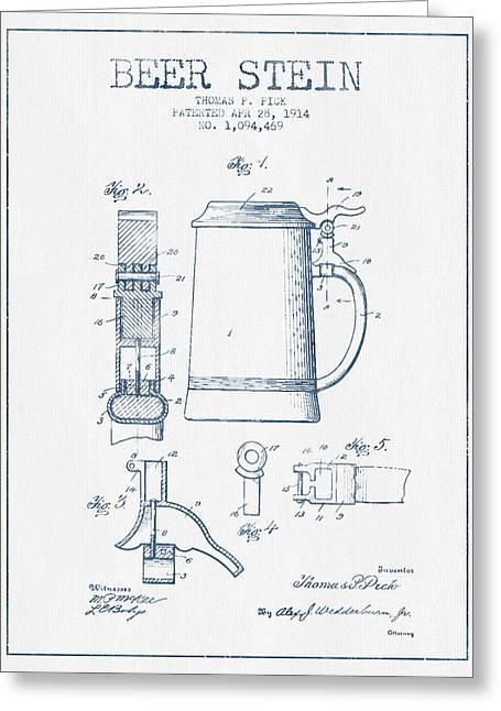 Beer Stein Patent From 1914 -  Blue Ink Greeting Card by Aged Pixel