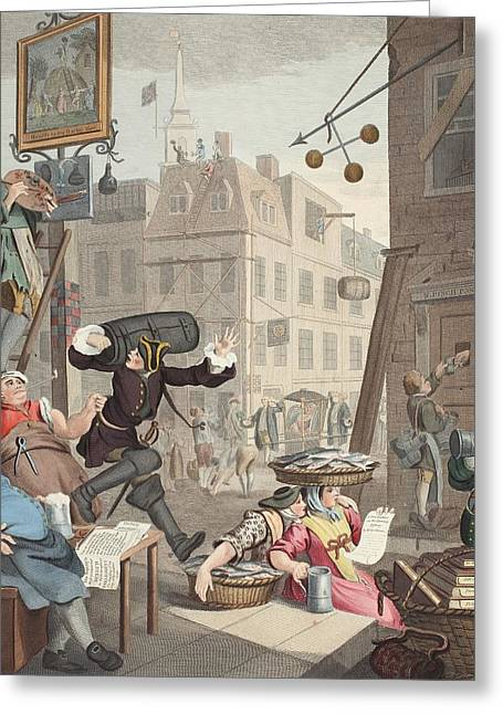 Caricature Drawings Greeting Cards - Beer Street, Illustration From Hogarth Greeting Card by William Hogarth