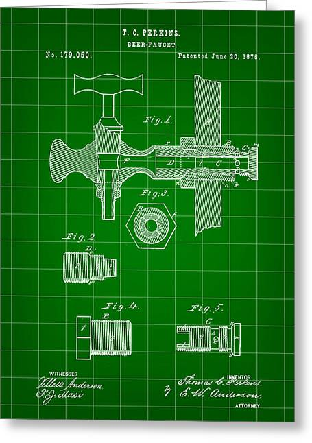 Beer Tap Patent 1876 - Green Greeting Card by Stephen Younts