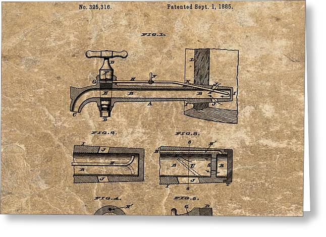 Beer Tap Patent Greeting Card by Dan Sproul
