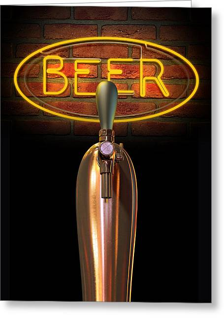Beer Tap Single With Neon Sign Greeting Card by Allan Swart