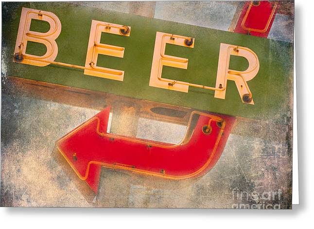 Old Signage Greeting Cards - Beer This Way Greeting Card by Sonja Quintero
