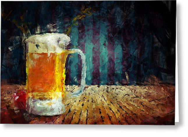 Abstract Digital Paintings Greeting Cards - Beer Time Greeting Card by Adam Vance