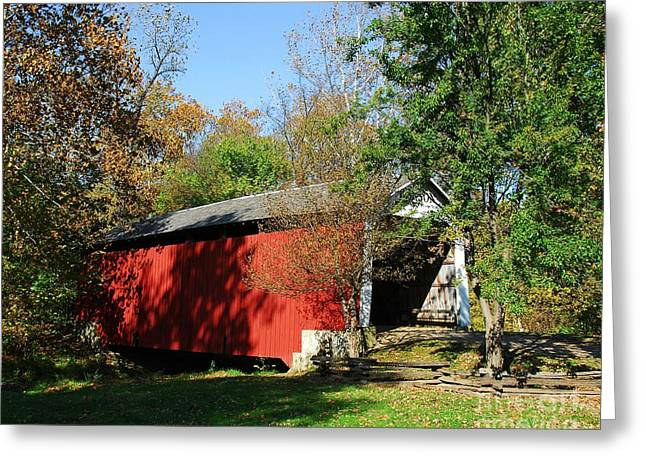 Shades Of Red Greeting Cards - Beeson Covered Bridge 1 Greeting Card by Mel Steinhauer
