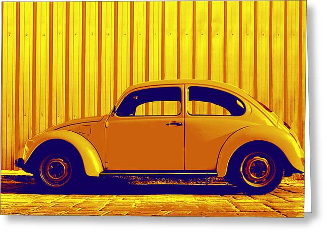 Beetle Pop Gold Greeting Card by Laura Fasulo