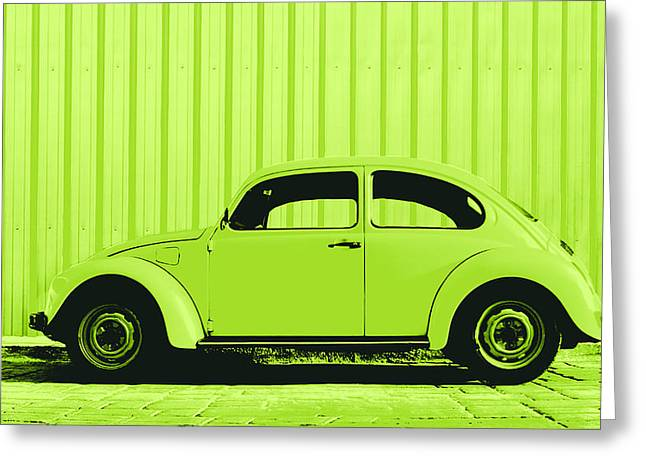 Metal Sheet Greeting Cards - Beetle Pop Lime Greeting Card by Laura  Fasulo