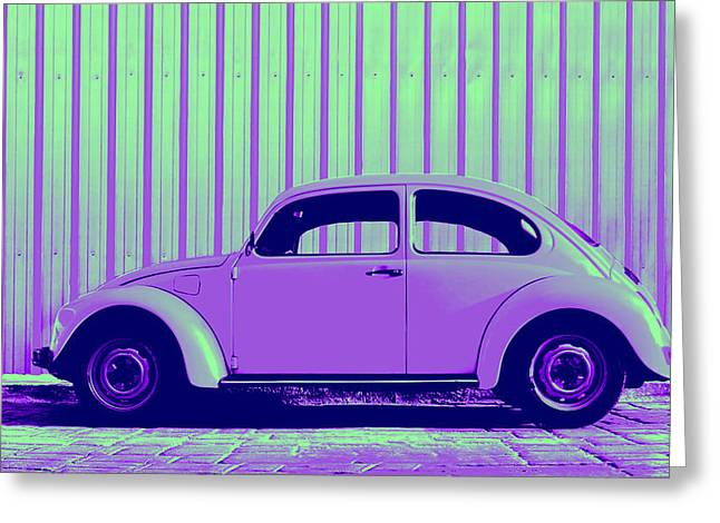 Metal Sheet Greeting Cards - Beetle Pop Purple Greeting Card by Laura  Fasulo
