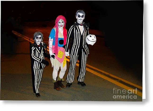 Beetlejuice Greeting Cards - Beetlejuice and Family Greeting Card by Al Bourassa