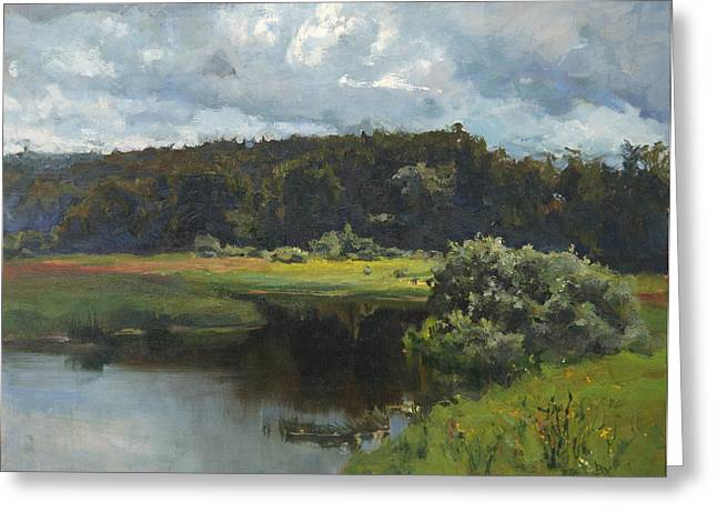 River Paintings Greeting Cards - Before a thunder-storm Greeting Card by Victoria Kharchenko