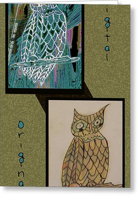 Color Enhanced Mixed Media Greeting Cards - Before and after owl Greeting Card by Melissa Osborne