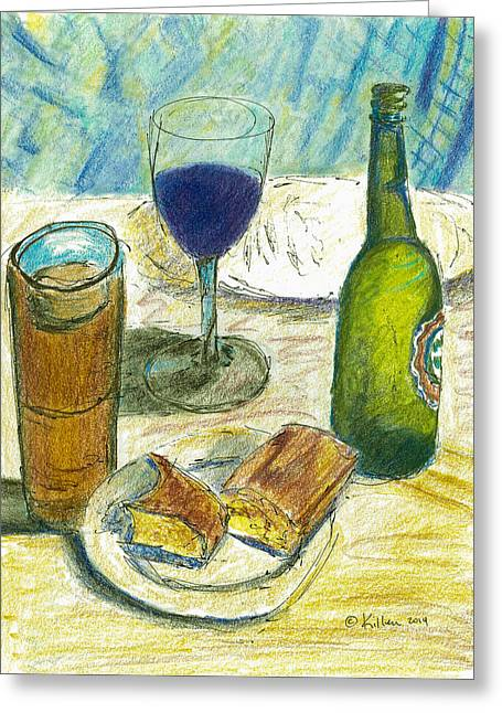 Red Wine Prints Mixed Media Greeting Cards - Before Prime Rib Greeting Card by William Killen