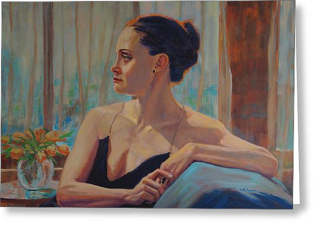 Straps Paintings Greeting Cards - Before The Ballet Greeting Card by Keith Burgess