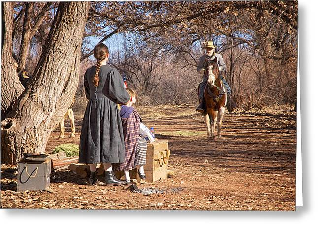 Winter Scenes Rural Scenes Greeting Cards - Before the Battle for Socorro Greeting Card by Mary Lee Dereske