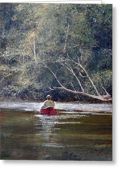 Canoe Paintings Greeting Cards - Before The Boil Greeting Card by Bill Brown