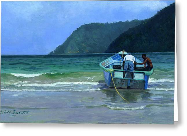 African-american Paintings Greeting Cards - Before the Catch Greeting Card by Colin Bootman