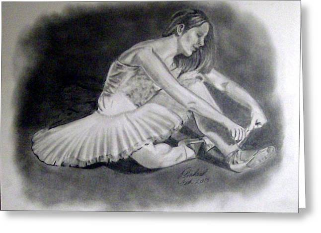 Ballet Dancers Drawings Greeting Cards - Before the Dance Greeting Card by Charles Pinkard Sr