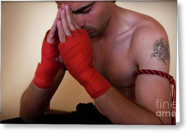 Muay Thai Greeting Cards - Before the Fight Greeting Card by Eena Bo