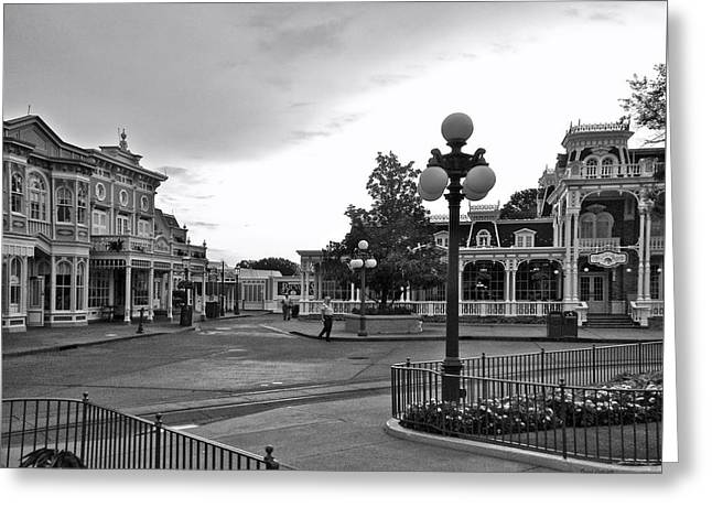 Recently Sold -  - Main Street Greeting Cards - Before The Gates Open Black and White Magic Kingdom Walt Disney World Greeting Card by Thomas Woolworth