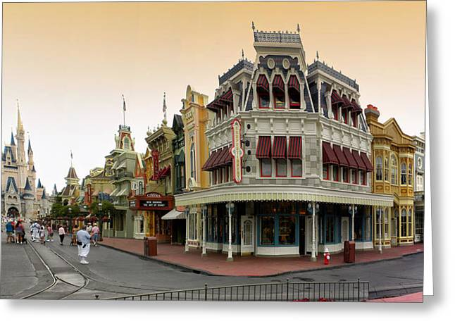 Before The Gates Open Early Morning Magic Kingdom With Castle. Greeting Card by Thomas Woolworth