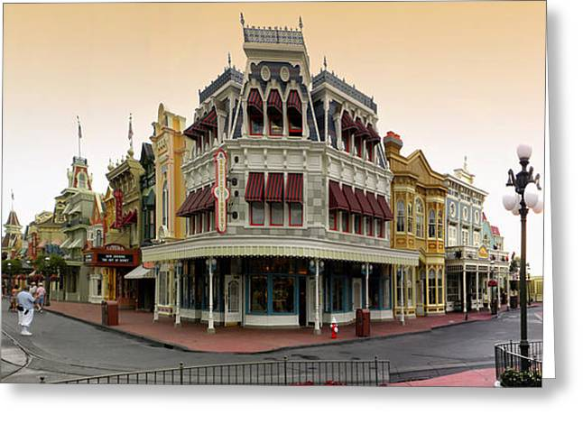 Before The Gates Open Magic Kingdom Main Street. Greeting Card by Thomas Woolworth