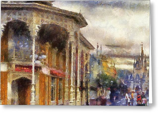 Hospital Theme Greeting Cards - Before The Gates Open Magic Kingdom WDW Photo Art Greeting Card by Thomas Woolworth