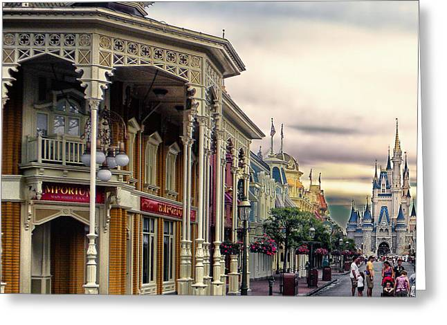 Orlando Magic Digital Art Greeting Cards - Before The Gates Open Main Street Magic Kingdom WDW Greeting Card by Thomas Woolworth