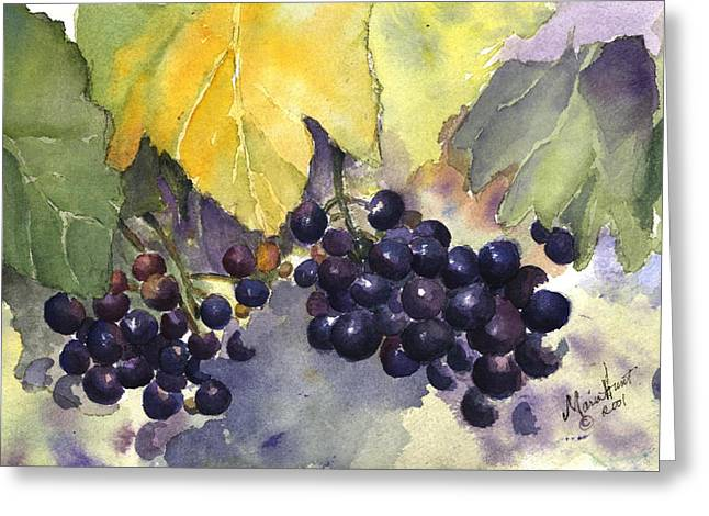 Merlot Greeting Cards - Before the Harvest Greeting Card by Maria Hunt