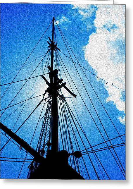 Tall Ships On Water Greeting Cards - Before the Mast Greeting Card by Mike Flynn