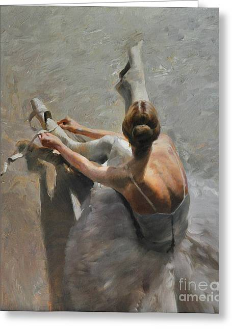 Dancer Rehearsal Greeting Cards - Before The Performance Greeting Card by Dmitriy Kalujni