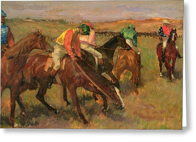 Before Greeting Cards - Before the Races Greeting Card by Edgar Degas