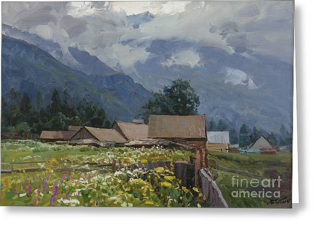 Print On Acrylic Drawings Greeting Cards - before the Rain Greeting Card by Aleksander Babich