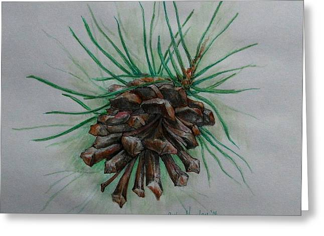 Pine Needles Mixed Media Greeting Cards - Before The Snow Fell Greeting Card by Catherine Howley